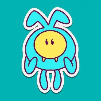 Kawaii monster doodle ontwerp illustratie