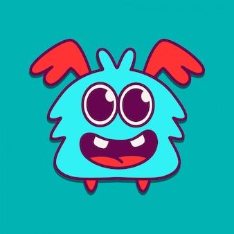 Kawaii monster doodle ontwerpsjabloon