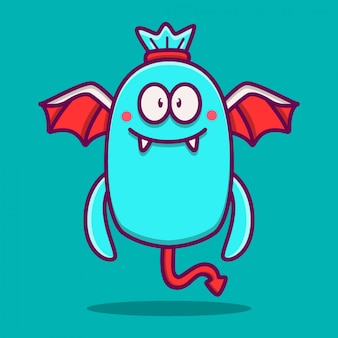 Kawaii monster doodle sjabloon