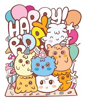 Kawaii monster verjaardag doodle