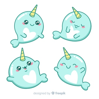 Kawaii narwhal karakter collectie