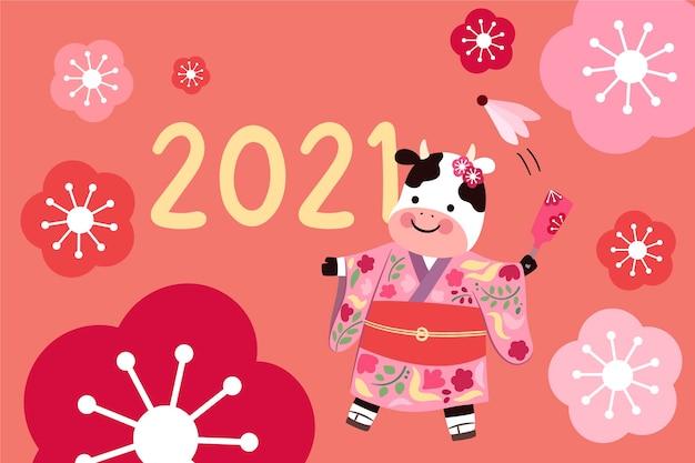 Kawaii nieuwjaar 2021 achtergrond