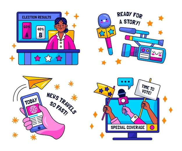 Kawaii nieuws stickers collectie