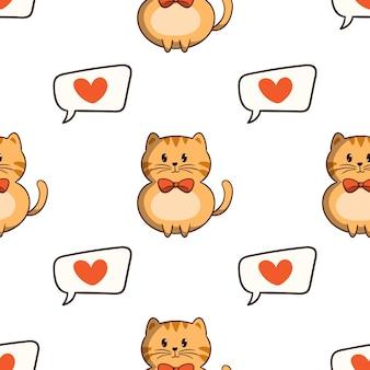 Kawaii oranje kat met liefdespictogrammen in naadloos patroon met gekleurde krabbelstijl op witte achtergrond
