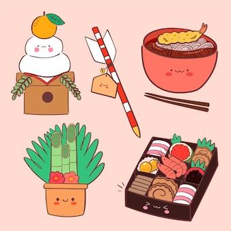 Kawaii oshogatsu-elementenverzameling