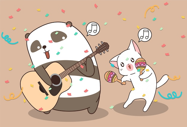 Kawaii panda en kat spelen muziekinstrument