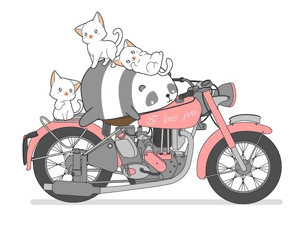 Kawaii panda en katten met motorfiets.