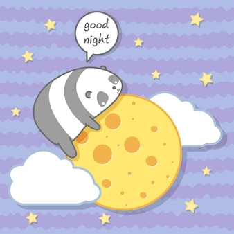 Kawaii panda knuffelt de maan. Premium Vector