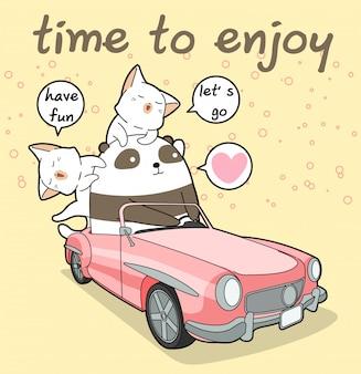 Kawaii panda rijdt in een roze auto met 2 katten