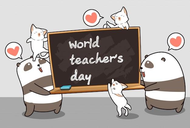 Kawaii-panda's en katten houden een schoolbord vast in de tijd van de wereldleraar