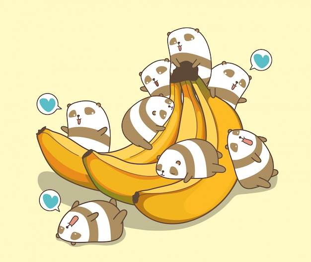 Kawaii-panda's houden van bananen