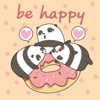 Kawaii panda's karakter met roze donut. wees vrolijk