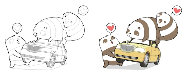 Kawaii panda tilt auto cartoon kleurplaat