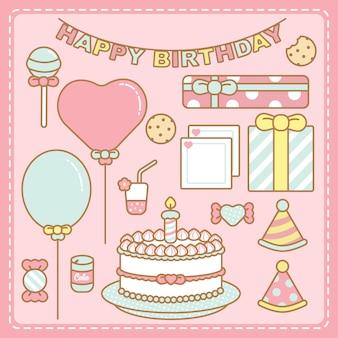 Kawaii pastel kleuren verjaardag set