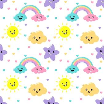 Kawaii pastel snijdt weer regenboog, wolken, zon en sterren cartoon met grappige gezichten naadloze patroon op witte achtergrond