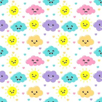 Kawaii pastel snijdt wolken, zon, hart en sterren cartoon met grappige gezichten naadloze patroon op witte achtergrond