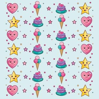 Kawaii patroon met sterren harten ijs en slagroom