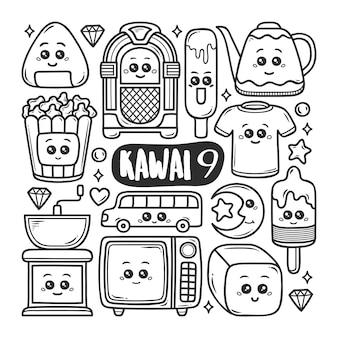 Kawaii pictogrammen hand getrokken doodle kleuren