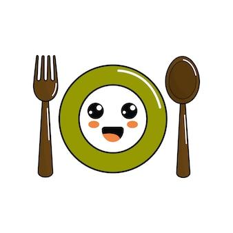 Kawaii plaat met lepel en vork pictogram