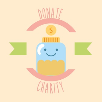 Kawaii pot glas munten geld doneren liefdadigheidslabel