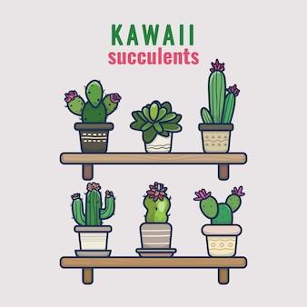 Kawaii prachtig pakje kleurrijke cactus