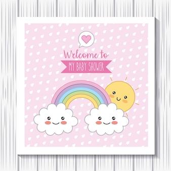 Kawaii regenboog wolken zon welkom babydouche poster