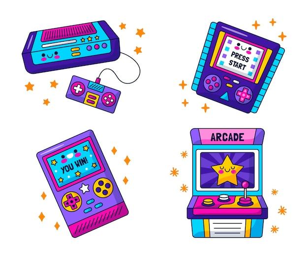 Kawaii retro videogames stickers collectie