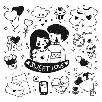 Kawaii romantisch paar doodle lijntekeningen geïsoleerd op witte achtergrond
