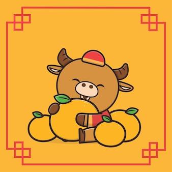 Kawaii schattig dier wildlife chinees nieuwjaar buffalo pictogram mascotte illustratie