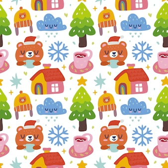 Kawaii schattig kerst naadloze patroon in scandinavische stijl. kan worden gebruikt voor stof enz