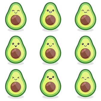 Kawaii schattige avocado set