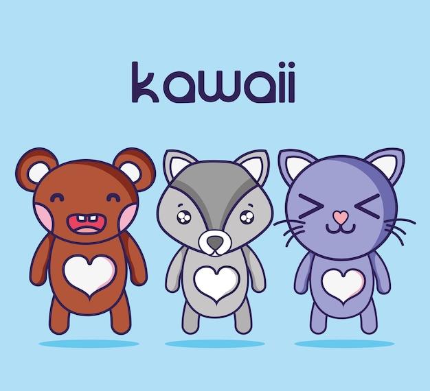 Kawaii schattige dieren gezichten expressie