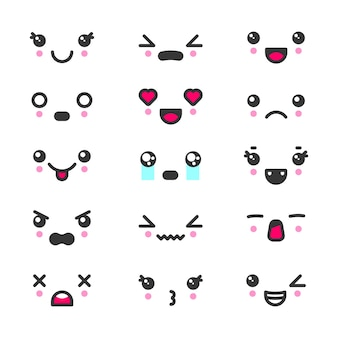 Kawaii schattige gezichten emoticons icon set. tekens en emoji, mooie pictogrammen cartoon