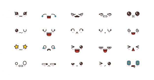 Kawaii schattige gezichten glimlachen emoticons. japanse emoji