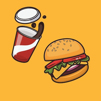Kawaii schattige hamburger en cola pictogram illustratie