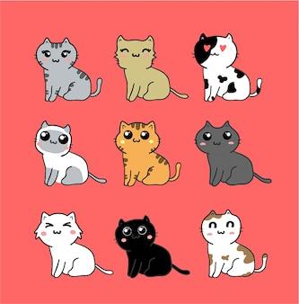 Kawaii schattige katten set geïsoleerd