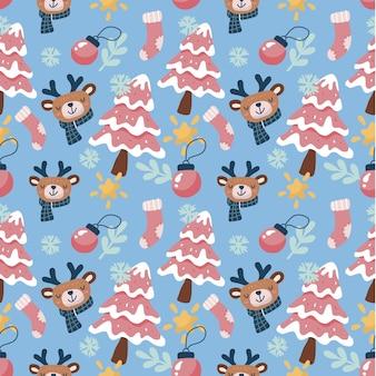Kawaii schattige kerst naadloze patroon achtergrond. kan worden gebruikt voor stof enz