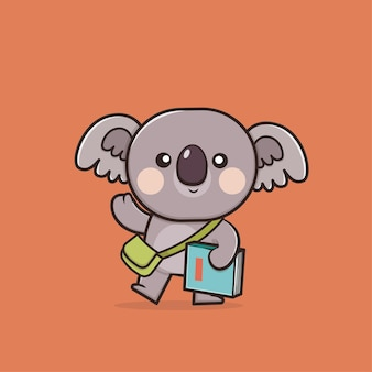 Kawaii schattige koala terug naar school pictogram mascotte illustratie