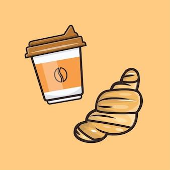 Kawaii schattige koffie illustratie