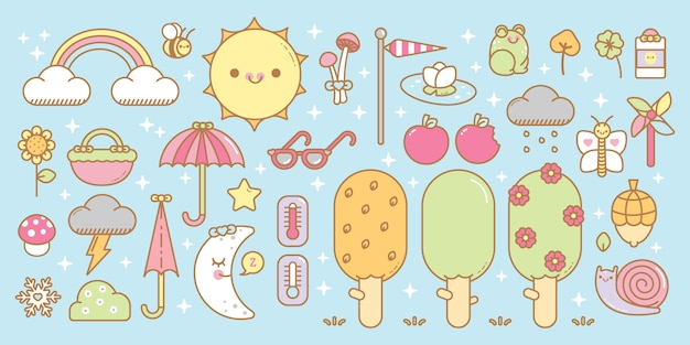 Kawaii seizoenen vector set