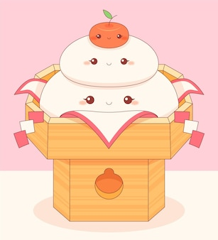 Kawaii smiley kagamimochi om te eten