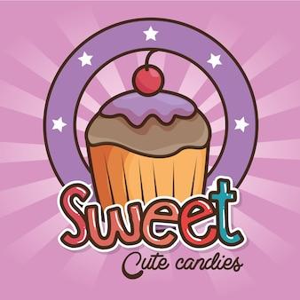 Kawaii snoep en snoepjes cartoon