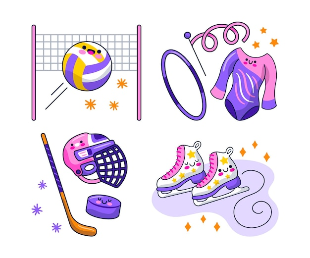 Kawaii sportsticker-collectie