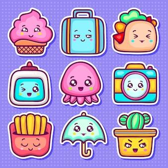 Kawaii sticker pictogrammen hand getrokken doodle kleuren