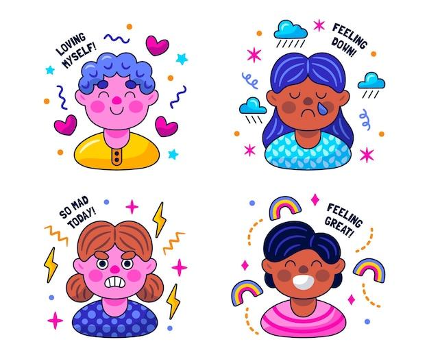 Kawaii stickers voor geestelijke gezondheid