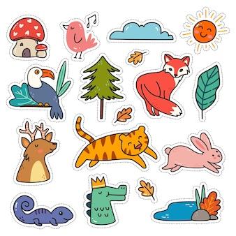 Kawaii-stickerset in doodle-stijl