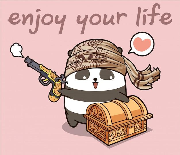 Kawaii stripfiguur piraat panda met een kist