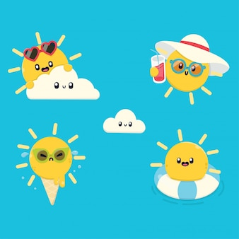 Kawaii sun-stijl zomerkaraktercollectie