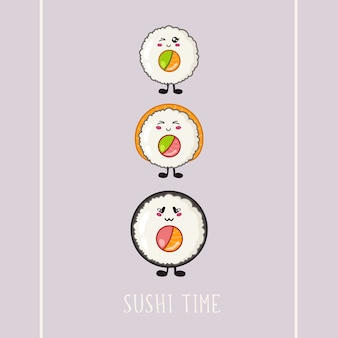 Kawaii sushi, roll - logo of banner op gekleurde achtergrond, traditionele japanse of aziatische keuken