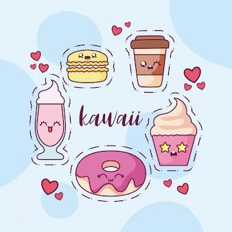Kawaii tekenfilms icon set